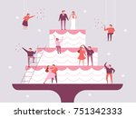 giant wedding cake and small... | Shutterstock .eps vector #751342333