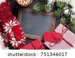 christmas fir tree  gift ... | Shutterstock . vector #751346017