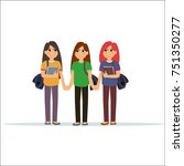 girl students discussing .... | Shutterstock .eps vector #751350277