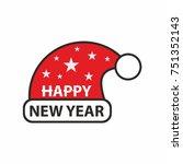 happy new year santa hat vector | Shutterstock .eps vector #751352143