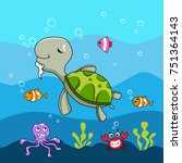 the old turtle. underwater life ...   Shutterstock .eps vector #751364143