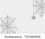 spider and cobweb on notebook... | Shutterstock .eps vector #751364503