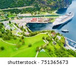 Small photo of Cruise ship in Flam. Flam is a village in Flamsdalen, at the Aurlandsfjord a branch of Sognefjord, municipality of Aurland, Norway.