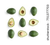seamless pattern with avocado... | Shutterstock . vector #751377703