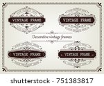 set of vintage frame with... | Shutterstock .eps vector #751383817