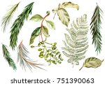 watercolor set. wild forest.... | Shutterstock . vector #751390063