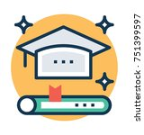 scholarship flat vector  icon... | Shutterstock .eps vector #751399597