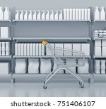 shelves with many goods in... | Shutterstock . vector #751406107
