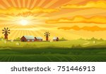 farm panorama vector background ... | Shutterstock .eps vector #751446913