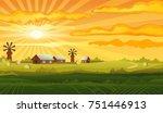 Farm Panorama Vector Backgroun...
