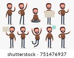 set of male character in casual ... | Shutterstock .eps vector #751476937