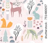 seamless pattern with bunny ... | Shutterstock .eps vector #751480057