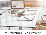 workplace with laptop and... | Shutterstock . vector #751494967
