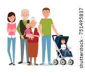large family of six people. | Shutterstock .eps vector #751495837