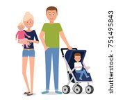 a young family of four. | Shutterstock .eps vector #751495843