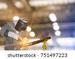 worker welding tig steel pipe...   Shutterstock . vector #751497223