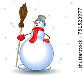 snowman with a broom and a... | Shutterstock .eps vector #751523977