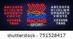 racing sports neon logo emblem...   Shutterstock .eps vector #751528417