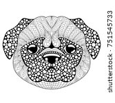 pug dog head. tattoo or adult... | Shutterstock .eps vector #751545733