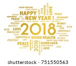 gold greeting words around new... | Shutterstock .eps vector #751550563
