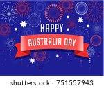 australia day  fireworks and... | Shutterstock .eps vector #751557943