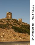 Small photo of Corsica, 28/08/2017: sunset on the ruined Genoese Towers (16th century) at the northwestern end of Cap Corse, on the road between Botticella (Ersa) and Centuri, standing on the Col de la Serra hill