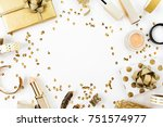 frame with gift  sequins ... | Shutterstock . vector #751574977