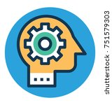 brain gear flat vector icon ... | Shutterstock .eps vector #751579303