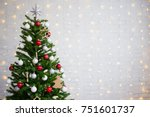 decorated christmas tree over... | Shutterstock . vector #751601737