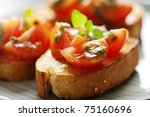 juicy tomatoes on fresh bread ... | Shutterstock . vector #75160696