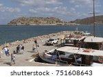 plaka harbour  crete  greece ...   Shutterstock . vector #751608643