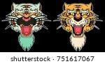 tiger face sticker vector.tiger ... | Shutterstock .eps vector #751617067