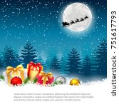 christmas night   background... | Shutterstock .eps vector #751617793
