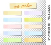 post note sticker. color sticky ... | Shutterstock . vector #751628203