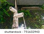 double cctv camera on metal...   Shutterstock . vector #751632943