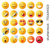 set of cute emoticons. set of... | Shutterstock .eps vector #751634323
