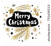 merry christmas happy new year... | Shutterstock .eps vector #751639213