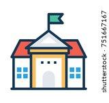 high school building flat...   Shutterstock .eps vector #751667167