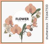 vintage floral greeting card...   Shutterstock .eps vector #751667533
