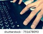 hand with work. | Shutterstock . vector #751678093
