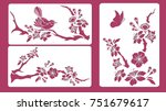Set Of Stencils. Blossom Cherr...