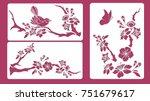 set of stencils. blossom cherry ... | Shutterstock .eps vector #751679617