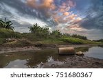 drought of the river at sunset | Shutterstock . vector #751680367