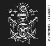 pirate skull emblem with swords ... | Shutterstock .eps vector #751680847