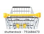 empty metal shopping basket on...