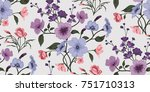 seamless floral pattern in... | Shutterstock .eps vector #751710313