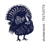 turkey hand drawn isolated... | Shutterstock .eps vector #751715773