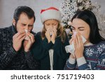 family is sick at christmas... | Shutterstock . vector #751719403