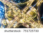 overpass u turn line at night... | Shutterstock . vector #751725733