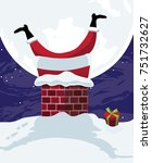 cartoon santa claus stuck in... | Shutterstock .eps vector #751732627